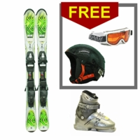 Used K2 Mammoth Junior Skis with Bindings + Dalbello FXR Ski Boots Junior Package Complete + FREE GOGGLES & HELMET