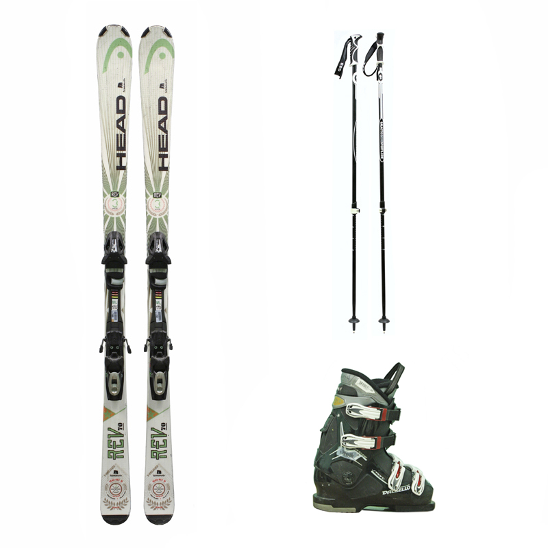 Used Head Rev 70 Skis with Bindings + Dalbello Vantage Sport Ski Boots + adjustable poles Package Complete