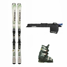 Used Head Rev 70 Skis with Bindings + Dalbello Vantage Sport Ski Boots + Ski Boot Bag Combo Package Complete Men's