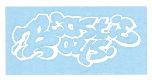 BEASTIE BOYS OLD SCHOOL LOGO RUB-ON STICKER WHITE