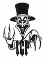 INSANE CLOWN POSSE RINGMASTER LOGO RUB-ON STICKER BLACK