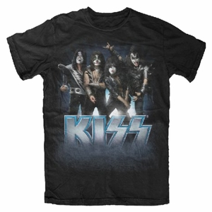 KISS BLUE LOGO POSE MEN'S T-SHIRT
