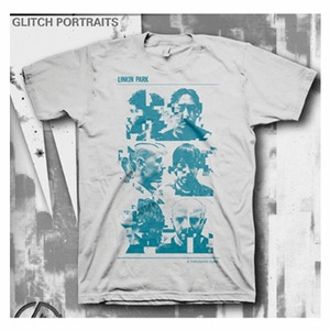 LINKIN PARK LIVING GLITCH PORTRAIT MEN'S T-SHIRT