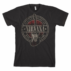 NIRVANA EST 1988 GUITAR STAMP BLACK MEN'S T-SHIRT