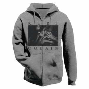 NIRVANA KURT COBAIN PHOTO LOGO MEN'S ZIP HOODIE