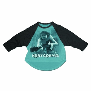 NIRVANA KURT COBAIN WATER GUITAR PHOTO MEN'S RAGLAN T-SHIRT