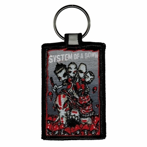 SYSTEM OF A DOWN CARTOON EMBROIDERED RECTANGLE KEYCHAIN