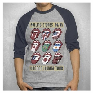 THE ROLLING STONES VOODOO LOUNGE HEATHER RAGLAN NAVY SLEEVES MEN'S T-SHIRT