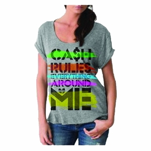 WU-TANG CLAN CASH RULES WOMEN'S ROLLED SLEEVES T-SHIRT