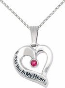 I'll Hold You In My Heart Necklace With Birthstone Crystal