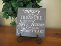 "Memorial Plaque with Easel ""A memory is a treasure..."""