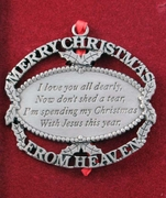 Merry Christmas From Heaven Ornament - Engravable Memorial Gift