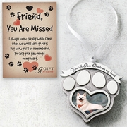 Pet Memorial Ornament - Paw Prints On Heart