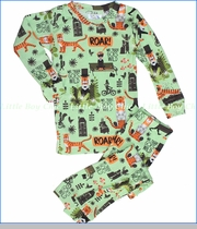 Books To Bed, Mr Tiger Goes Wild Pajama Set in Green