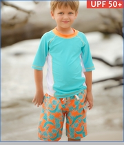 Cabana Life, Dolphin and Stingray Swim Shorts and Rashguard Set