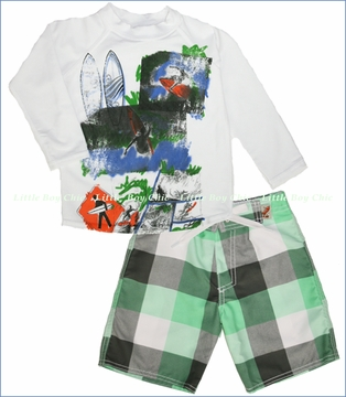 Charlie Rocket, Board Collage Rashguard with Buffalo Plaid Swim Shorts