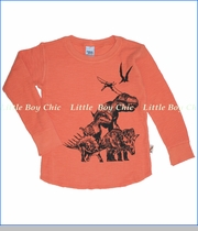 Charlie Rocket, Dino Slub Thermal Tee in Orange