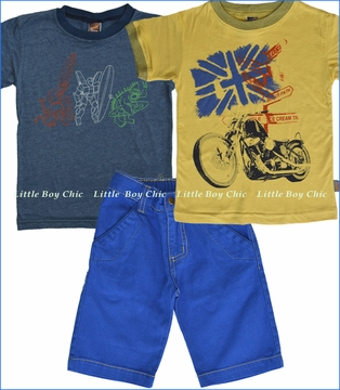 Charlie Rocket, Monster and Motorcycle Tee with Aruba Denim