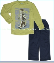 Charlie Rocket, Robot Tee with Navy Textured Pants