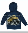 Charlie Rocket, School Bus Zip Hoodie in Navy (c)