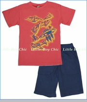 Charlie Rocket, Things That Fly Tee with Indigo French Terry Shorts