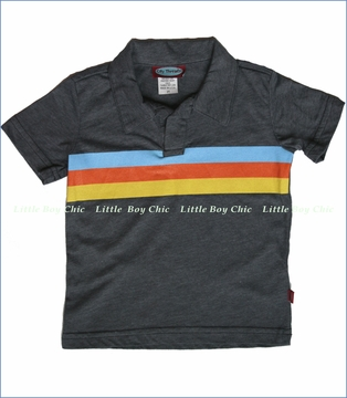 City Threads, Charcoal 3-Stripe Polo (c)