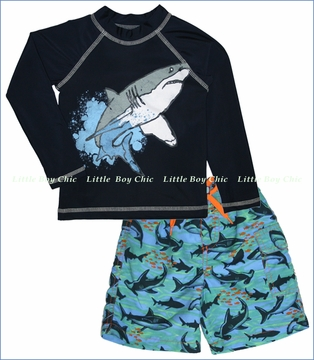 City Threads, Shark Rashguard and Swim Shorts