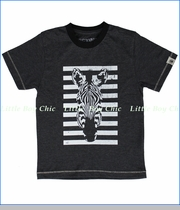 Dogwood, Zebra Stripe Tee in Heather Black