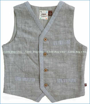 Fore!!, Grey Linen and Stripe Vest (c)