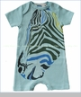 Gnu by Lemon Loves Lime, Z For Zebra Romper in Canal Blue (c)