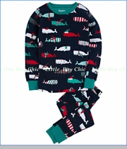 Hatley, Scarf Whales Allover Pajama in Navy