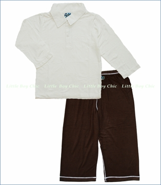 Kicky Pants, Natural Solid Polo with Pant