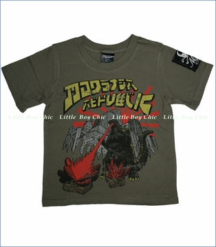 Monster Republic, Godzilla Tee in Olive (c)