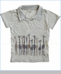 Nano, Giraffe Pin Stripe Polo in Dove Grey (c)