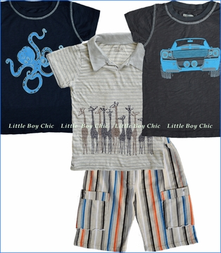 Nano, Otopus, Giraffe and Car Tops with Stripe Shorts
