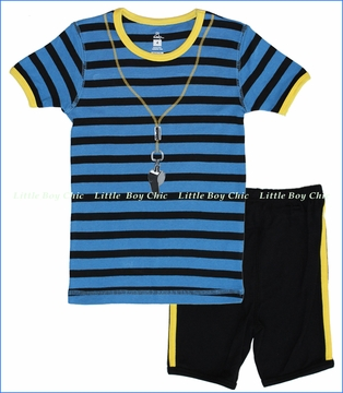Petit Lem, Soccer Stripe Pajama Set in Blue (c)