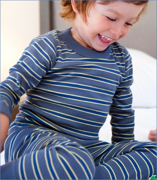 Skylar Luna, Dark Blue/Grey/Yellow Stripe Organic Long Pajama (c)