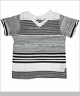 Splendid, V-neck Vintage Stripe Tee in White (c)