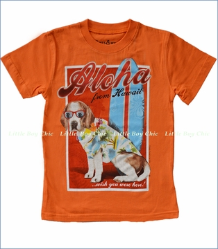 Wes and Willy, Aloha Dog Tee in Bright Orange (c)