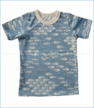 Winter Water Factory, Under The Sea Organic Tee in Blue (c)