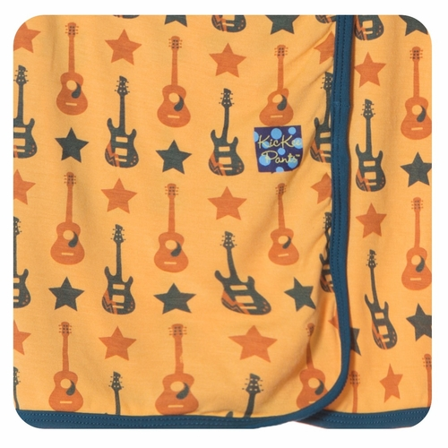 Kickee Pants Fuzzy Bees Guitar Swaddle Blanket