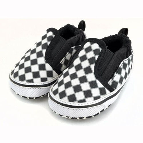 Me In Mind Black & White Checkered Baby Shoes