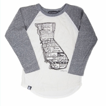 Mini & Maximus California Surf Map Long Sleeve Raglan