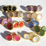 12MM Stippled Jewel Brads - Gold Edge - Choose Color