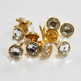 13mm Clear Jewl Brads - Gold Edge