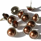13mm Rope Pearl Brads - Brown - out of stock