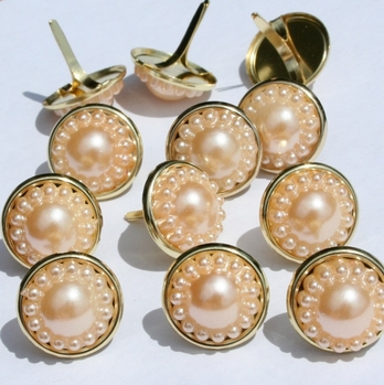 14mm Pearl Brads - Cream with Silver