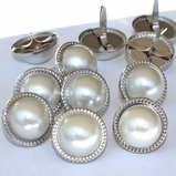 15mm Pearl Brads - White/Silver