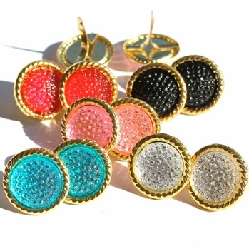 16MM Stippled Jewel Brads - Gold Edge - Choose Color