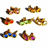 6MM Jewel Brads - Gold Edge - Choose Color